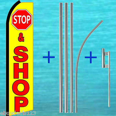 Stop Shop Flutter Feather Flag 15 Tall Pole Mount Kit Swooper Bow Banner