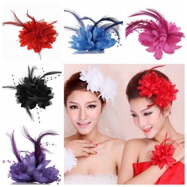 Bridal Flower Feather Bead Hair Clips Fascinator Hairband Br