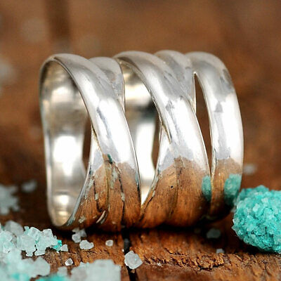 Big Bold Statement Ring for Women Sterling Silver Thumb Wide Band Size 7 8 9