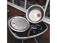 Kitchen round sink Bowel drainer & Taps