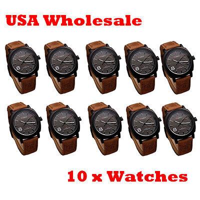 10 x Brand New Curren Watch Sport Black Dial Leather Quartz - Wholesale Lot
