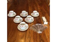6 Illy Live Happ-illy Espresso cups & saucers + Ombra Spoons