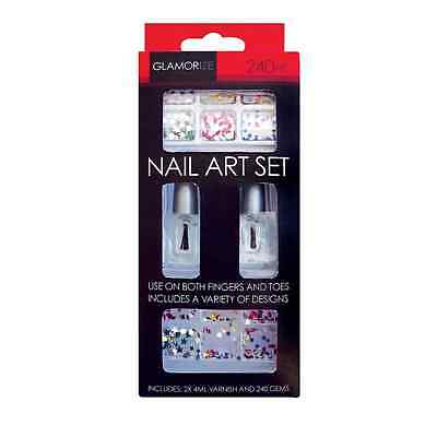 2 X 4ML VARNISH AND 240 GEMS NAIL ART SET FINGER AND TOES DESIGNS BRAND NEW