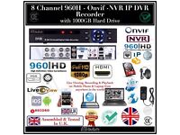 8 Channel 960H HD - Onvif - DVR Recorder with 1000GB Hard Drive