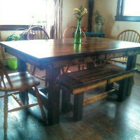Refined Rustic Harvest Table and Bench