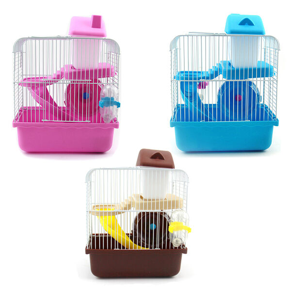 2 Floors Storey Hamster Cage Mouse house with slide disk spinning bottle CX