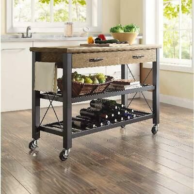 Kitchen Island Serving Wine Cart Table Metal Shelves TV Stand Feature Bar Rack