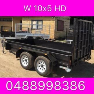 10x5 HD tandem trailer w ramp 2ton 1 pc fold 2.5mm checker plate