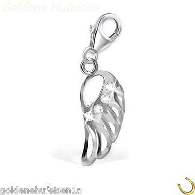 Kristall Charm Engelsflügel / Flügel 925 Echt Silber Anhänger Armband gh1a *167*