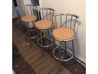 3 bar stools breakfast stools wood and chrome