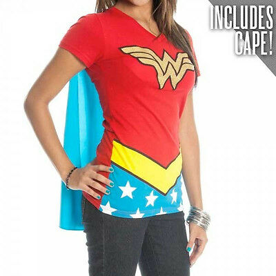 Wonder Woman T Shirt Cape (WONDER WOMAN Girl's Junior Babydoll Cape t tee Shirt NEW DC Comics Costume)