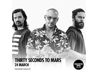 4x 30 Seconds To Mars standing tickets, Manchester Arena, Saturday 24th March 2018