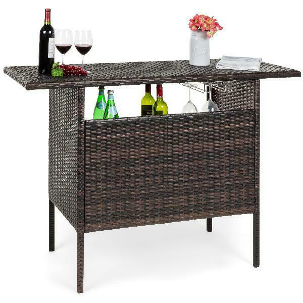 outdoor patio wicker bar counter table w