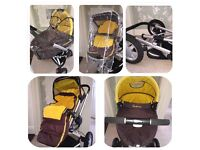 Pram, pushchair. Quinny Buzz in gold and brown.