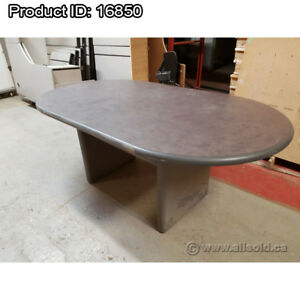 """Grey 8 ft. (96"""") Racetrack Style Boardroom Meeting Table"""