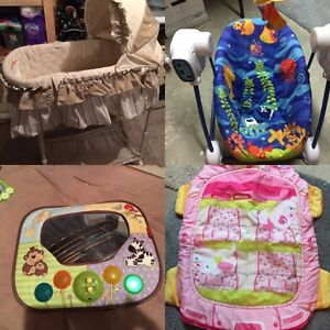 Baby bassinet, swing, car mirror, and mat