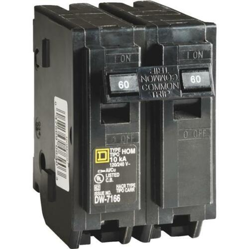 Square D Homeline 60A Double-Pole Standard Trip Circuit Breaker 1 pk