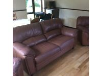 Tan leather 3 seater and 2 matching chairs