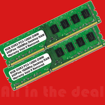 16GB Kit 2 x 8GB DDR3 PC3-12800 1600 Mhz DESKTOP MEMORY 240 PIN Non-ECC CL 11