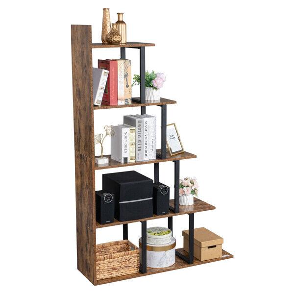 FCH Wooden 5-Tier Bookshelf Vintage Freestanding Bookcase Storage Display Rack
