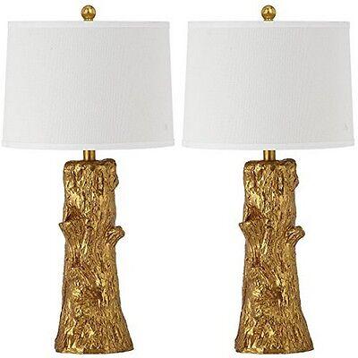 "Safavieh LIT4318A-SET2 Arcadia 28.5"" Faux Bois Table Lamp Gold Base Set Of 2 NEW"