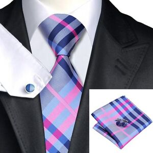 SN-467 Men's 100% Jacquard Woven Silk Neckties Tie+Hanky+Cufflinks Sets Free S&H