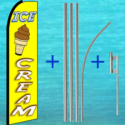 Ice Cream Swooper Flag Pole Mount Kit Tall Feather Flutter Banner Advertising
