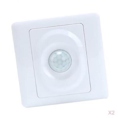 2pcs Pir Motion Sensor Light Switch Time Detector Adapter Panel