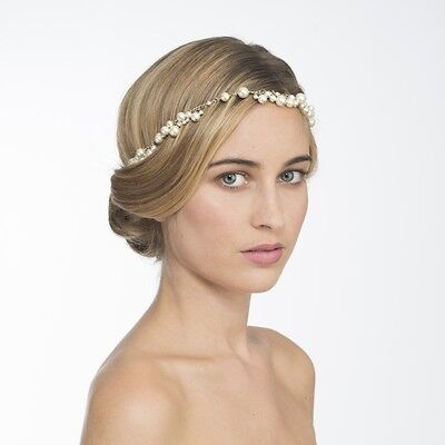 MAISON MICHEL Pearl Pearls Chain Hairband Bridal Wedding Tiara