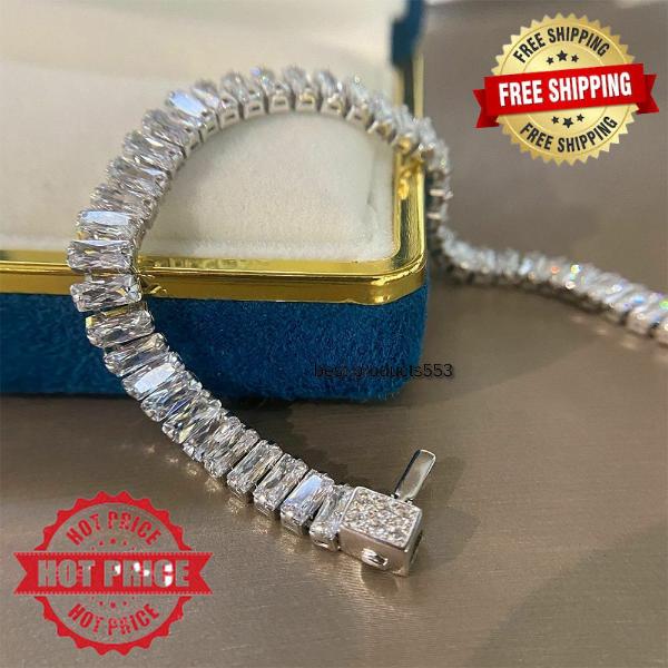 Geometric Shape 925 Sterling Silver Zircon Gemstone Bracelet Gift For Women