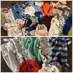 Baby Boy Lot: 22 - 0-3 mth sleeper , 6 - NB sleepers, 7 - NB hat