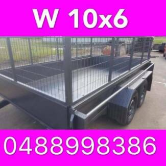 10x6 TANDEM TRAILER WTH CAGE 2000KG 1 PCE FOLD FULL CHECKER PLATE