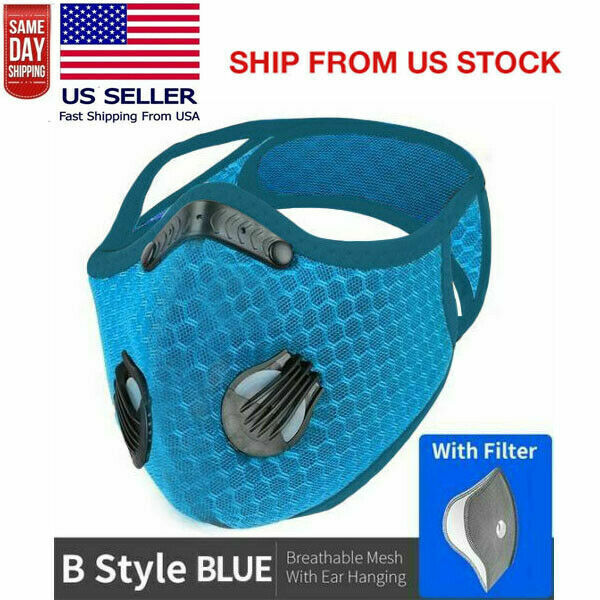 Sport Cycling Face Mask With Active Carbon Filter Breathing Valves Blue