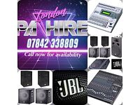 Full Jbl PA system for hire (£150 a day)