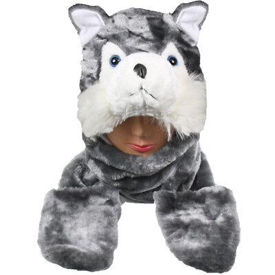 Plüsch Fleece Tier-Hut Grau Wolf mit Süß Warm Winter Geschenk USA