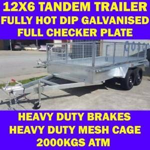 12x6 galvanised tandem box trailer with cage 70x50mm chassis