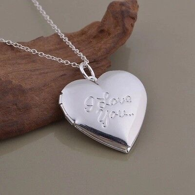 925 Sterling Silver  I Love You   Words  Heart Photo Locket Pendant Necklace 18