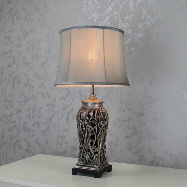 Antique Style Silver Decorative Ornate Table Lamp (GB139)