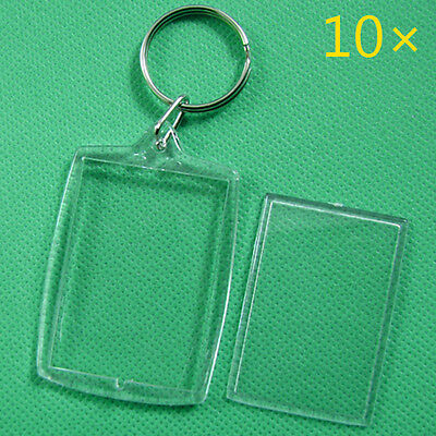 10Pcs Keychain Key Chain Rings Blank Clear Acrylic Picture Frames Lockets