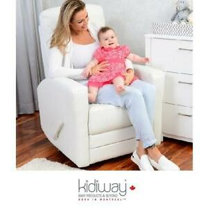 NEW* KIDIWAY WHITE HABANA GLIDER WHITE - BONDED LEATHER - FURNITURE GLIDERS CHAIR CHAIRS NURSING NURSERY SWIVEL