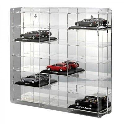 SORA Modellautovitrine 1:43 mit verspiegelter Rückwand für 18 Modellautos ()