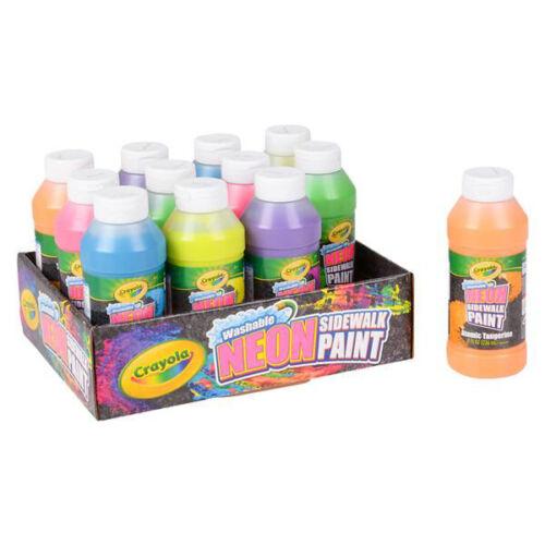 12 PC Crayola 8 oz Sidewalk Paint Bottles Neon Washable Kids Arts Crafts