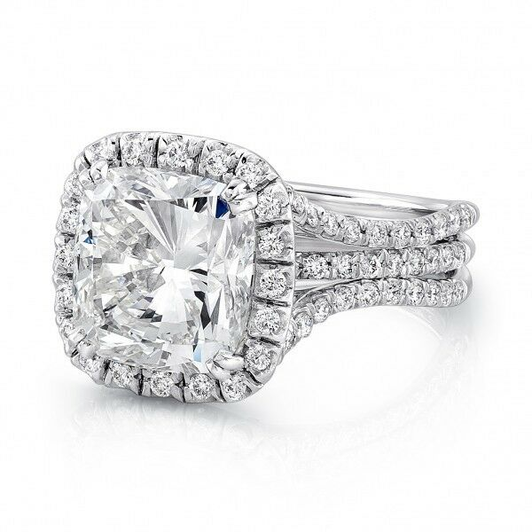 Natural 4.50 Ct. Cushion Cut Halo Split Shank Diamond Engagement Ring J, VS2 GIA