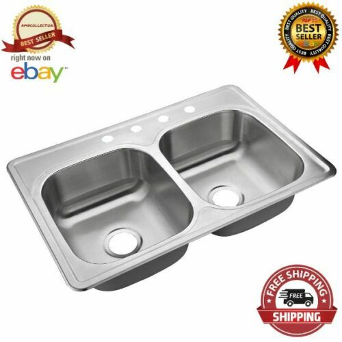 """Double Bowl Kitchen Sink 4 Hole Heavy Duty Satin 33"""" Stainless Steel Top Mount"""