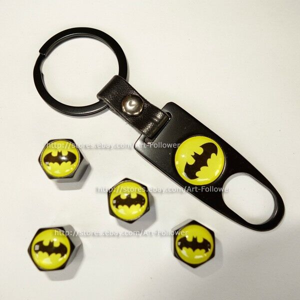 1Set Batman logo Tire Air Valve Caps + Wrench Key Chain Cool New 1Set