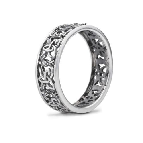 Outlander Inspired Sterling Silver Ring with Thistle Blooms & Highland Interlace