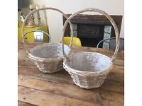 2 x Whitewashed Wicker Baskets. Perfect for Wedding Confetti.