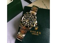 Two tone bi metal unfading sea water proof diving sub automatic mens watch rolex box and paperwork