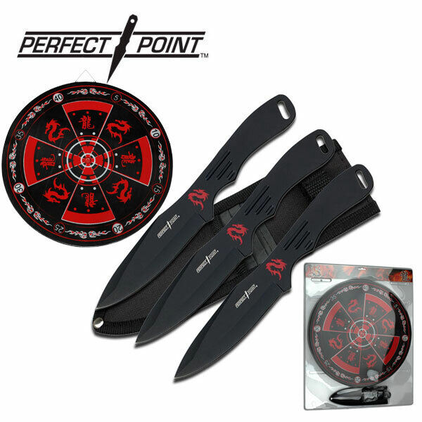 """NEW! Perfect Point 8"""" Black 3-Pc. Throwing Knife Set w/ Target Board"""
