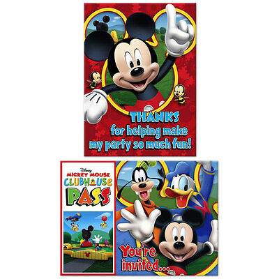 Mickey Mouse Thank You Cards (Mickey Mouse Mickey Playtime Birthday Party Supplies Invitations Thank You)